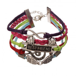 Owl Fox Note Multilayers Bracelet Colorful Leather Rope Bracelet