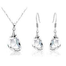 Pea Clear Crystal Necklace and Earrings Jewelry Set Wedding