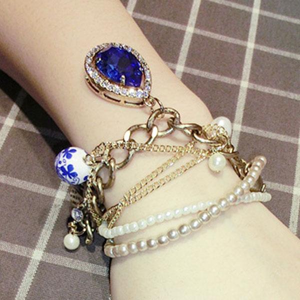 Pearl Crystal Teardrop Skull Ceramic Pendant Bracelet Multichain Women Jewelry