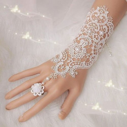 Pearl Lace Flower Wedding Bridal Gloves Ring Bracelet For Women