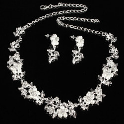 Pearl Rhinestone Pendent Necklace Earrings Bridal Wedding Jewelry Set