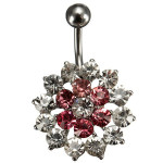 Pink White Crystal Flower Belly Button Navel Ring Body Piercing Women Jewelry