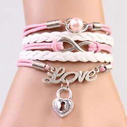 Pink White Infinity Love Heart Lock Multilayer Leather Bracelet