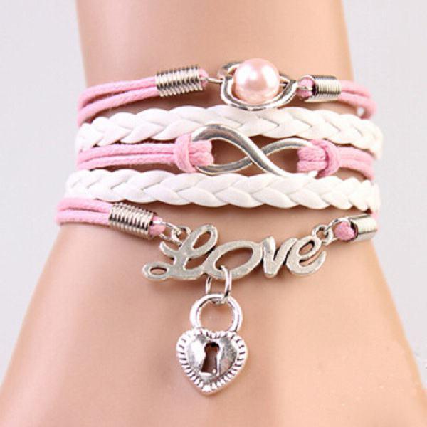 Pink White Infinity Love Heart Lock Multilayer Leather Bracelet Women Jewelry