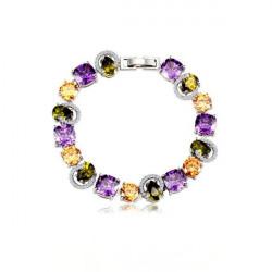 Platinum Plated Rhinestone Cubic Zircon Strand Bracelet For Women