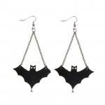 Punk Black Leather Bat Dangle Drop Pendant Earrings For Women Women Jewelry