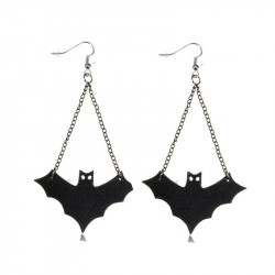 Punk Black Leather Bat Dangle Drop Pendant Earrings For Women