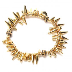 Punk Cool Silver Gold Plated Elastic Rivet Spike Bracelet For Women