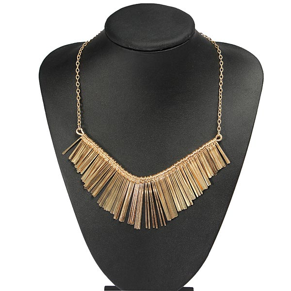 Punk Gold Metal Multilayer Tassels Chain Choker Collar Necklace Women Jewelry