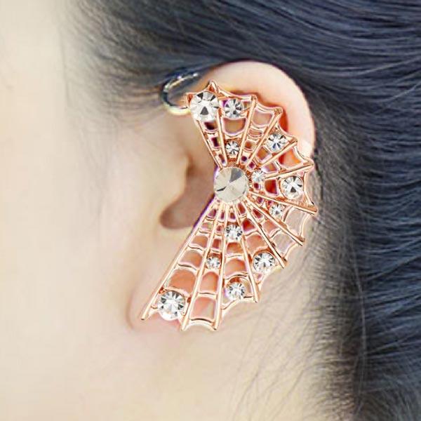 Punk Gold Rhinestone Hollow Out Ear Clip Earrings Jewelry Women Jewelry