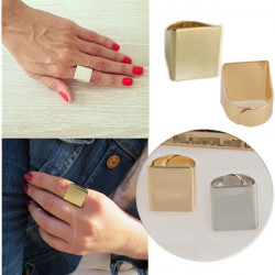 Punk Gold Silver Plated Alloy Square Wide Finger Ring Unisex