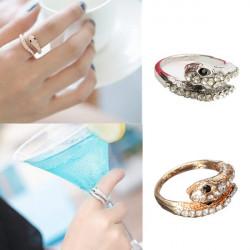 Punk Gold Silver Rhinestone Snake Finger Ring For Women