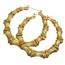 Punk Large Hoop Heart Shaped Bamboo Earrings Gold Plated Jewelry