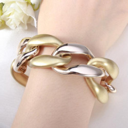 Punk Plastic Two Tone Thick Chain Bracelet Women Jewelry