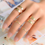 Punk Polish Gold Silver Opening Knuckle Stacking Rings Set Women Jewelry