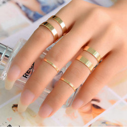 Punk Polish Gold Silver Opening Knuckle Stacking Rings Set