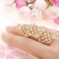 Punk Rhinestone Hollow Out Joint Knuckle Adjustable Finger Ring