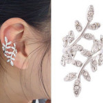 Punk Rhinestone Leaf Earring Clip Ear Cuff Silver Gold Plated Women Jewelry