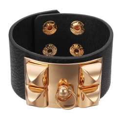 Punk Rivet Pyramid Faux Leather Wide Cuff Bracelet Bangle