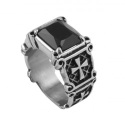 Punk Rock Black Agate Cross Mens Ring 316L Stainless Steel Jewelry