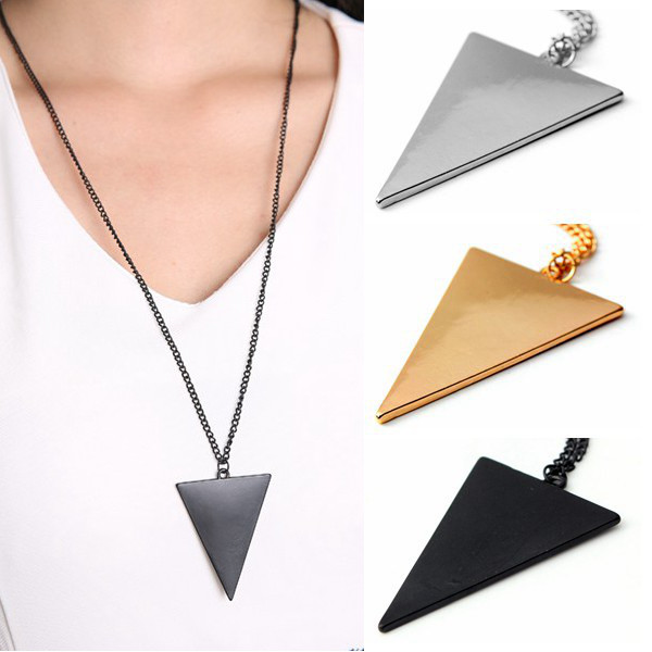 Punk Style Triangle Pendant Long Chain Necklace Gold Silver Black Women Jewelry