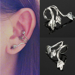 Punk Triple Leaf Alloy Earring Clips Ear Cuff Silver Plated Jewelry