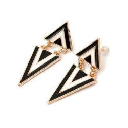 Punk Vintage Enamel Geometric Triangle Dangle Stud Earrings For Women