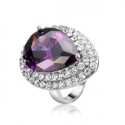 Purple Water Drop Austrian Crystal Zircon Ring 18K Platinum Plated