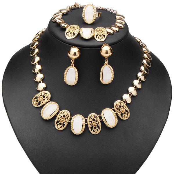 Red Beige Crystal Hollow Necklace Bracelet Earrings Ring Jewelry Set Women Jewelry