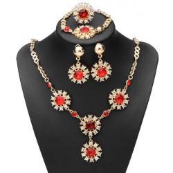 Red Crystal Flowers Earrings Ring Bracelet Necklace Jewelry Set