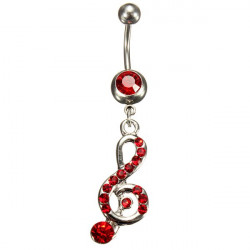Red Crystal Music Note Dangle Navel Belly Button Ring Body Jewelry