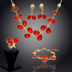 Red Crystal Peach Heart Necklace Bracelet Earrings Ring Jewelry Set