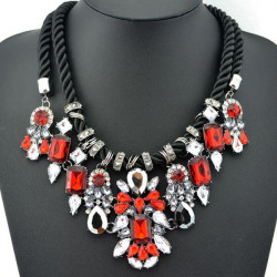 Red Crystal Pendant Chunky Statement Necklace Hemp Rope