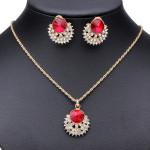 Red Crystal Rhinestone Flower Ring Earrings Necklace Jewelry Set Women Jewelry