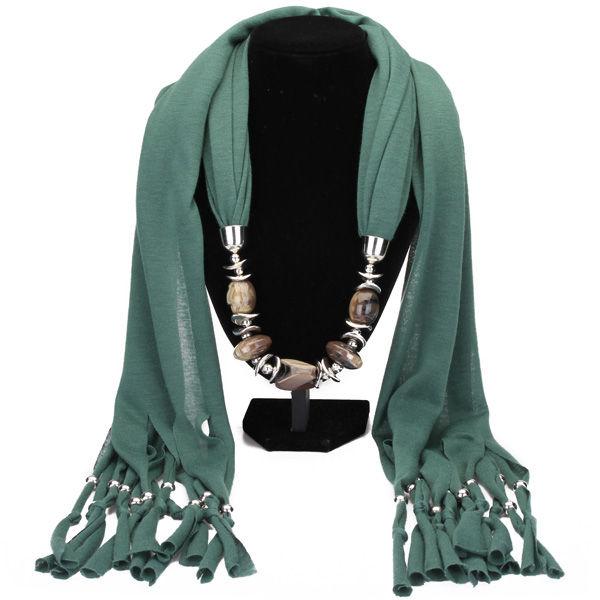 Resin Pendant Tassel Scarf Necklace Women Jewelry Autumn Winter Women Jewelry