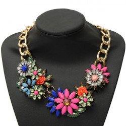 Resin Rhinestone Flower Choker Statement Pendant Necklace