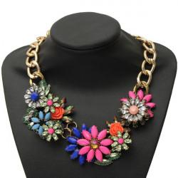 Resin Rhinestone Flower Choker Statement Pendant Necklace