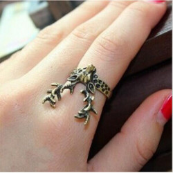 Retro Gold Plated Deer Horn Finger Ring Vintage Jewelry