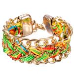 Retro Handmade Multilayer Braided Rope Bracelet Gold Plated Women Jewelry