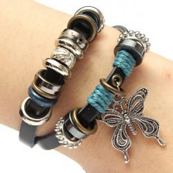 Retro Multilayer Leather Strap Beads Alloy Butterfly Charm Bracelet