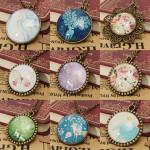 Retro Reindeer Butterfly Glass Cabochon Pendant Necklace Multi Pattern Women Jewelry