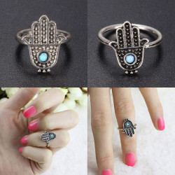 Retro Silver Alloy Hand Of Fatima Hamsa Ring Women Jewelry