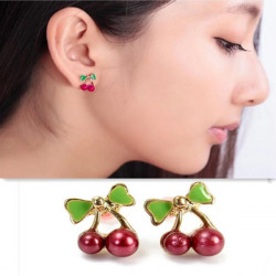 Retro Small Red Cherry Alloy Stud Earrings Women Jewelry