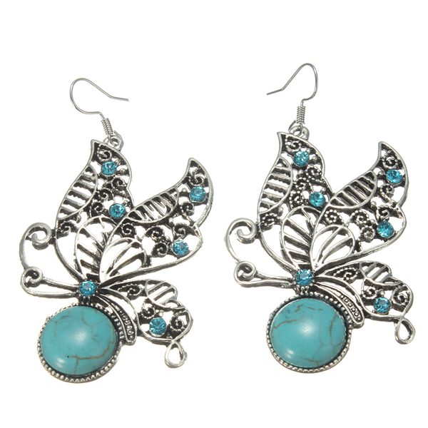 Retro Tibetan Silver Hollow Butterfly Turquoise Crystal Drop Earrings Women Jewelry