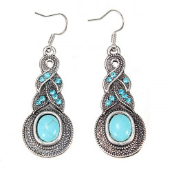 Retro Tibetan Silver Oval Turquoise Crystal Drop Earrings Women