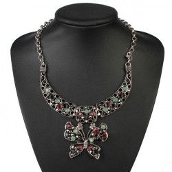 Retro Tibetan Silver Rhinestone Butterfly Pendant Necklace