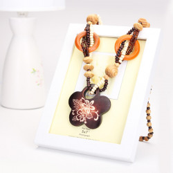 Retro Wood Beads Geometirc Animal Pendant Necklace Long Chain