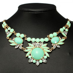 Rhinestone Bubble Statement Bib Choker Necklace Women Jewelry
