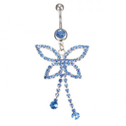 Rhinestone Butterfly Navel Belly Button Bar Ring Piercing Body Jewelry