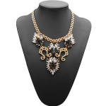 Rhinestone Crystal Acrylic Flower Leaf Pendant Choker Necklace Women Jewelry